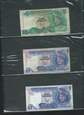 Bank Notes mixed condition-Malaysia (3) and Singapore (3) as per scan (898)