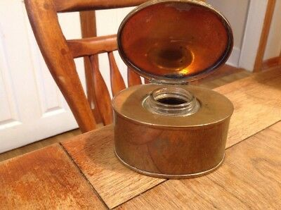 Vintage Copper Inkwell With Glass Insert Marked On Base AMS 1007