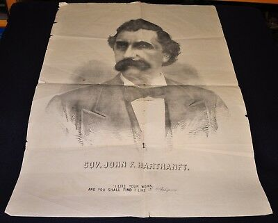Vintage 1872 Pennsylvania Governor John Hartranft Political Campaign Poster
