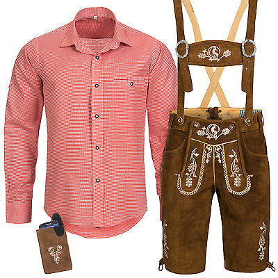 Traditional Costume Set Men Lederhose with Costume Straps Shirt Case Oktoberfest
