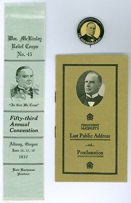 Vintage 1901-30s President McKinley Political Pb Button 1 Ribbon &1 Proclamation