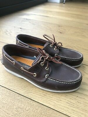 Mens Timberland Brown Leather Boat/deck Shoes 8.5. Excellent Condition
