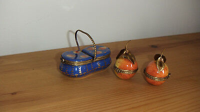 Rare Limoges France Set Of 3 Hand Painted Triket Boxes P.v. Apples & Basket