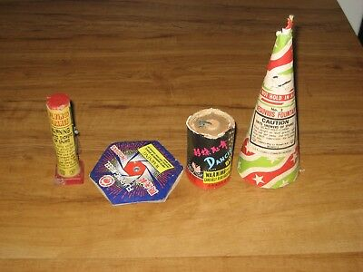 4 Fireworks,Firecracker Labels-Flying Crane,Dancing Butterfly,Vesuvius,Wheel