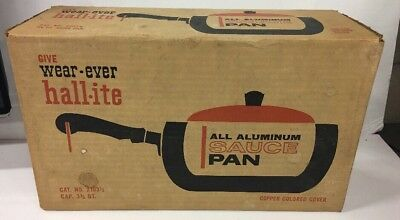 Vintage Wear-Ever Hallite 3-1/2 Qt Copper Top Saucepan New In Sealed Box 2103