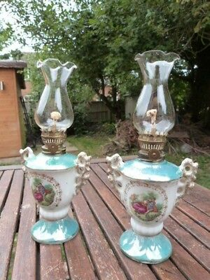 Lovely Pair Of Small Vintage Ornate Ceramic Brass & Glass Table Oil Lamps.