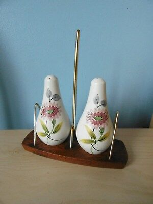 Radford Pottery Hand Painted Salt & Pepper Cruet Set on Wooden Wyncraft Stand