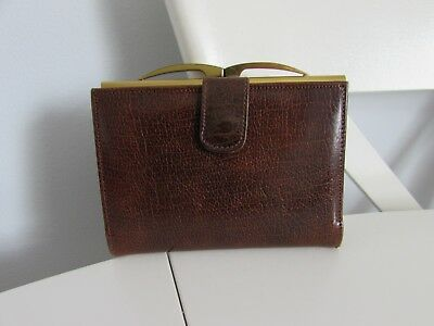 Vintage Brown Calf Leather Purse With Metal Clasp Snap Closure - Made in England
