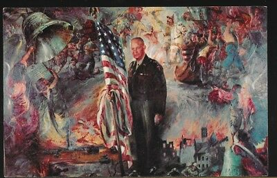 Painting of General Dwight D. Eisenhower, Background Struggle for Liberty