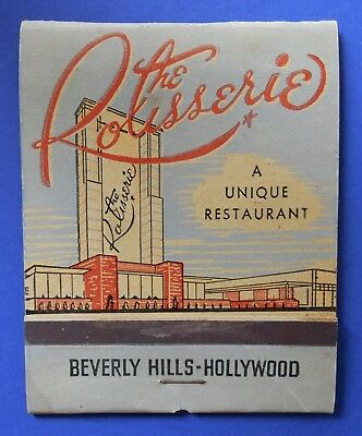 2 Rotisserie Restaurant Hollywood CA, Giant Feature Matchbook, 40s-50s
