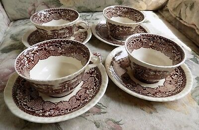 Vtg Brown Mason's Vista Ironstone Coffee Cup and Saucer Set of 4 England 8pc