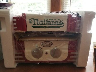 Nathan's Retro Style Hot Dog Roller Machine Warmer Cooker Grill