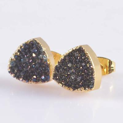 10mm Triangle Natural Agate Titanium Druzy Stud Earrings Gold Plated T047373