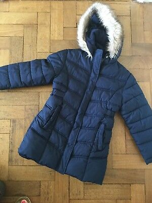Girls navy coat 7-8 Debenhams Hardly Worn