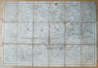 Rare 1816 Folding Ordnance Survey Map Of Surrey, By Colonel Mudge,at The Tower.
