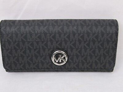 6a05ca83a6be NWT Michael Kors PVC MK Signature Fulton Flap Continental Carryall Wallet  Black