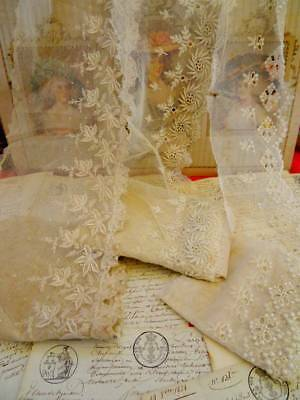 Three Lengths Exquisite Antique Tulle Bridal Lace ~ Sewing Projects ~ C.1890