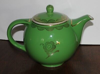 Hall Teapot 6 cup old emerald green and gold Globe teapot