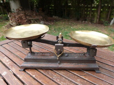 Lovely Set Of Antique Cast Iron & Brass Scales.