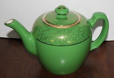 Hall Teapot 6 cup old emerald green and gold Illinois teapot