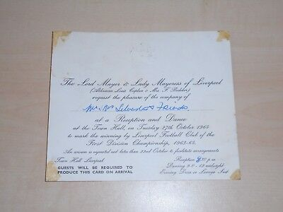 1964 Liverpool FC League Champions Reception&Dinner At Town Hall Invitation Card