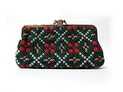 """Vintage Welsh Tapestry Blanket 7"""" Clasp PURSE Green & Red wool Double pocket"""