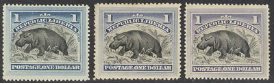 Liberia 1892, $1.00 hippo, three copies, good SHADES #47 Waterlow