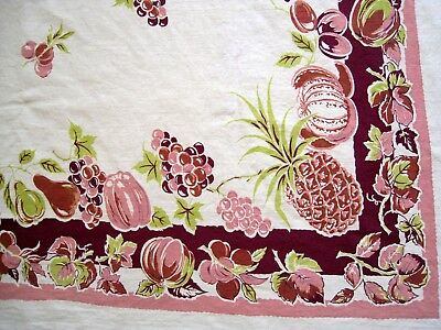 Vintage Tablecloth Cotton Pint Fruit Pineapples Plums Grapes 44 x 52
