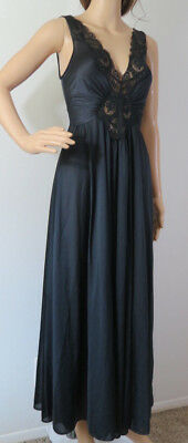 Vtg Olga nightgown night gown black lace long women's Small 92280