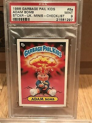 1986 Garbage Pail Kids UK minis Adam Bomb PSA 9 #8A checklist