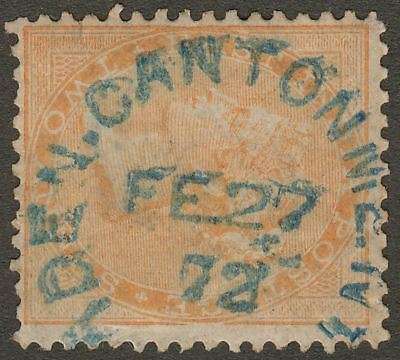 India used Aden 1872 QV 2a Used blue ADEN-CANTONMENT 124 Duplex Postmark KD7