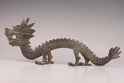 Antique Old Bronze Statue Mythical Dragons Animals Adorn Figurine China