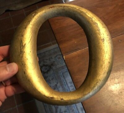 "Antique Gold Painted Wood Store Sign Individual Letter ""O"" (7.25"")"
