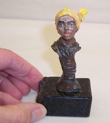 SIGNED Vintage COLD PAINTED BRONZE Young Arabian ARAB Figure BUST Marble Base