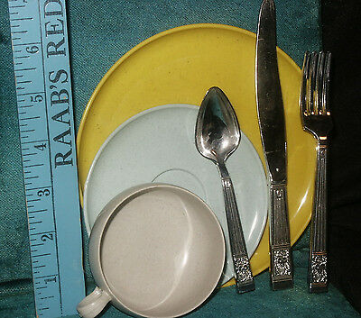 Russel Wright AMERICAN MODERN Plastic Dishes IDEAL Plate/Cup/Saucer Fork/Spoon&3