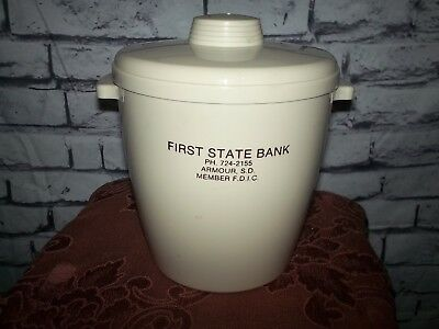 vtg First state Bank Armour S.D. advertising premium cookie jar/ice bucket FDIC
