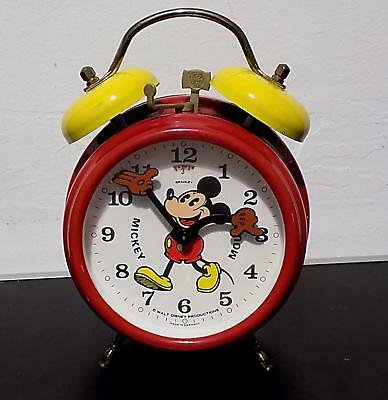Vintage Tinplate Disney Mickey Mouse Alarm Clock, Bradley, Made in Germany.