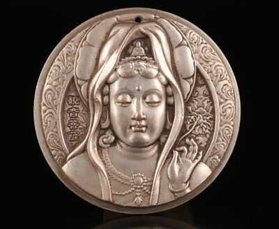 Antique Relief Bodhi Mountain Buddha Statue Pendant Old Chinese Buddhism