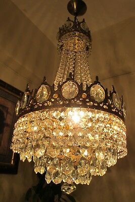 Antique Vintage French Basket Style Crystal Chandelier Lamp Light 1940's.13 in .
