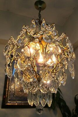 Antique Vintage French Cage Style Crystal Chandelier Light Luster 1940's 15 in.