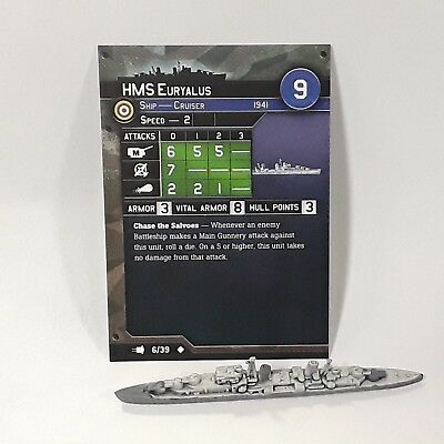 "Axis and Allies War at Sea ""Fleet Command"" HMS Euryalus (6/39) Game Piece & Card"