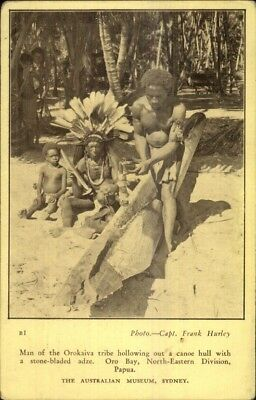 Ethnography Oro Bay Natives Carving Out Canoe Papua New Guinea c1915 Postcard