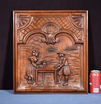 *Antique French Breton Panel Brittany in Solid Chestnut Wood w/Couple