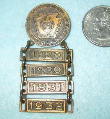 Vintage Pennsylvania Dept. of Forests & Waters Guide Pin w/ Year Bars 1929-'32