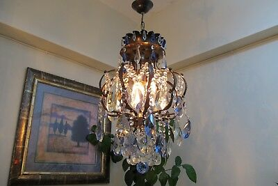 Antique Vintage French Cage Style Crystal Chandelier Light Luster 1940's 13 in..