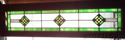 "Antique Stained Leaded Glass Transom Window 47"" by 13"" Circa 1925 Checkerboard"