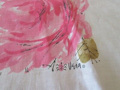 "Gorgeous Vintage Vera Neumann Tablecloth Pink Roses Signed Ladybug 66"" Round"