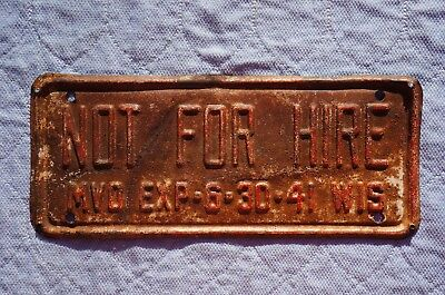 1941 Wisconsin NOT FOR HIRE - MVD License Plate
