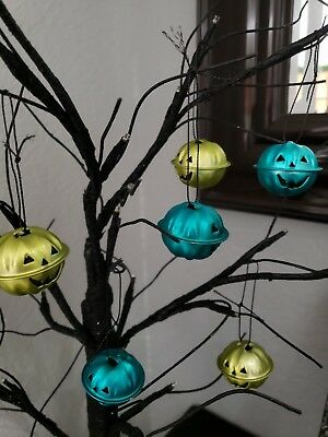 Halloween Pumpkin Turquoise Green Mini Bell Tree Ornaments Decorations Set of 6