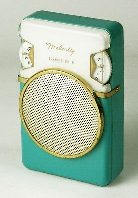 Melody Model 6YR-15A -6Transistor  Radio - turquoise/cream - 1960